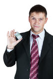 Businessman showing a wad of money Stock Images