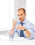 Businessman showing warning gesture Royalty Free Stock Photos