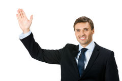 Businessman showing, on white Stock Image