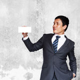 Businessman Showing White Blank Note Stock Photos
