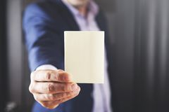 Businessman showing white empty card stock photos