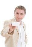 Businessman showing your card Stock Images