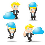 Businessman shows cloud computing technology Royalty Free Stock Photography