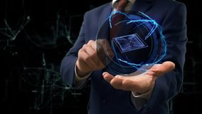 Businessman shows concept hologram 3d CPU on his hand. Man in business suit with future technology screen and modern cosmic background stock footage