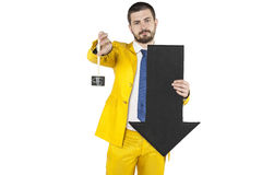 Businessman shows the decline of the dollar Royalty Free Stock Photos
