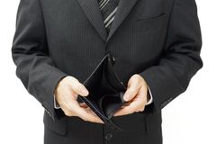 Businessman shows empty wallet Royalty Free Stock Images