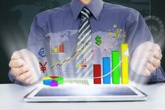 Businessman shows financial report Stock Photos