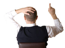 Businessman, shows a finger up Stock Image