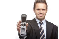 Businessman shows mobile phone Royalty Free Stock Photo