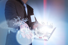 Businessman shows modern technology Royalty Free Stock Photos