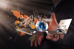 Businessman shows modern technology Stock Image