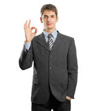 Businessman Shows OK Stock Photo