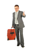 Businessman shows ok gesture Royalty Free Stock Photo