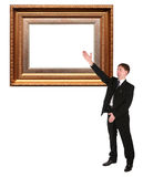 Businessman shows on Picture frame baget. Collage Royalty Free Stock Photos