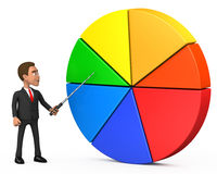 Businessman shows pointer on the graph. 3d businessman shows pointer on the graph Royalty Free Stock Photo