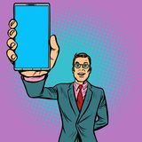 Businessman shows a smartphone Royalty Free Illustration
