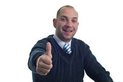 Businessman Shows Thumb Up Royalty Free Stock Photography