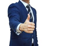 Businessman Shows Thumb Up Sign Gesture. Nonverbal Communication. Like, OK, Perfect, Good Job, Praise, Satisfied, Thumb Up Gesture Royalty Free Stock Photography