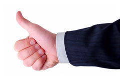 Businessman shows thumbs up. Isolated on white Royalty Free Stock Image