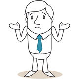 Businessman shrugging shoulders. Vector illustration of a monochrome clueless looking cartoon businessman shrugging his shoulders Stock Photo