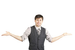 Businessman Shrugging Shoulders. Isolated Stock Image