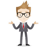 Businessman shrugging shoulders. Vector illustration of a cartoon businessman looking clueless and shrugging his shoulders Stock Photos