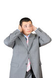Businessman is shut up his ears Stock Images