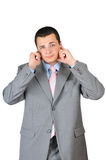 Businessman is shut up his ears Stock Image