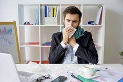 Businessman is sick Stock Photography