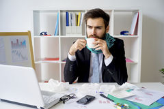 Businessman is sick Stock Images