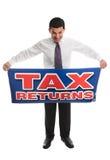 Businessman with a sign Stock Photos