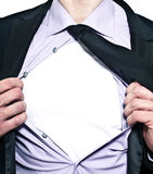 Businessman with sign on chest Royalty Free Stock Photos