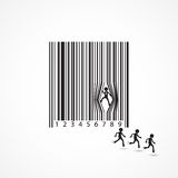 Businessman sign with dilapidation barcode. Cartoon,business concept. Stock Images