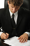 Businessman the signing contract Stock Photos
