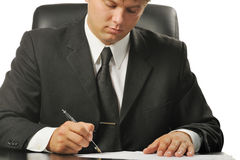 Businessman the signing contract Stock Images