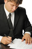 Businessman the signing contract Stock Photo