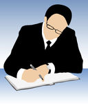 Businessman signing a contract. Vector of  businessman with pen, eyeglasses, suit and tie signing contract on blue background Royalty Free Stock Photo