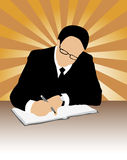 Businessman signing a contract. Vector of  businessman with pen, eyeglasses, suit and tie signing contract on grunge background of colorful sun-rays Royalty Free Stock Photography