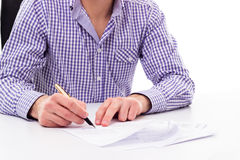 Businessman signing contract Stock Images