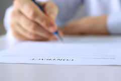 Businessman is signing a contract, business contract details Stock Image
