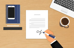 Businessman is signing a contract royalty free illustration