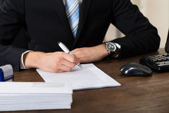 Businessman Signing Contract Paper stock image