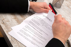 A businessman signing a Contract Stock Photography