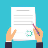 Businessman is signing a contract. Vector agreement icon in flat Stock Photo