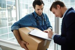 Receiving package royalty free stock photos