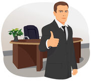 Businessman signing thumbs up Stock Images