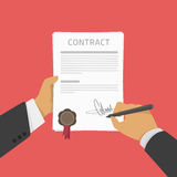Businessman signs a contract. Vector Illustration