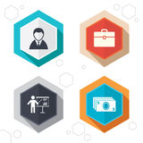 Businessman signs. Human and cash money icons. Hexagon buttons. Businessman icons. Human silhouette and cash money signs. Case and presentation with chart Royalty Free Stock Photos