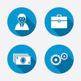 Businessman signs. Human and cash money icons. Businessman icons. Human silhouette and cash money signs. Case and gear symbols. Circle concept web buttons Royalty Free Stock Image