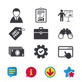 Businessman signs. Human and cash money icons. Stock Photos